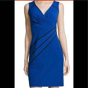 Sleeveless Contrast-Piping Dress, Cobalt Blue
